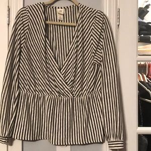 Cream and black striped pullover blouse
